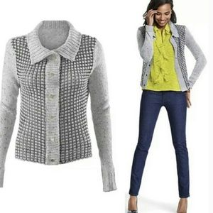Cabi gray knitted acrylic / cotton snap cardigan